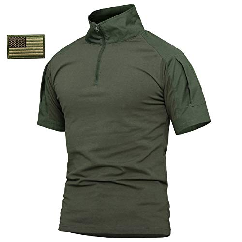 ReFire Gear Men's Military Tactical Army Combat Short Sleeve Shirt Slim Fit Camo T-Shirt with 1/4 Zipper (US Medium, Army Green-Short)