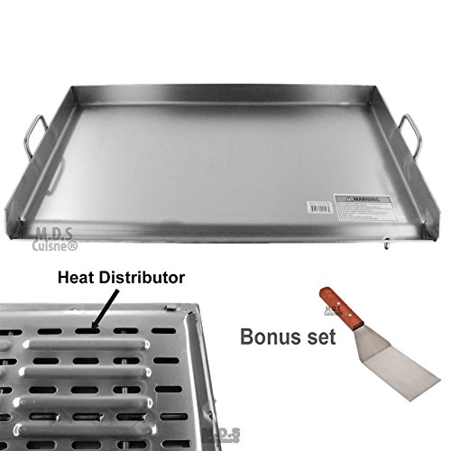 Top Portable Stainless Steel Solid - Griddle Stainless Steel Flat Top With reinforced brackets under griddle-Heat Distributor Heavy Duty Comal Plancha 36