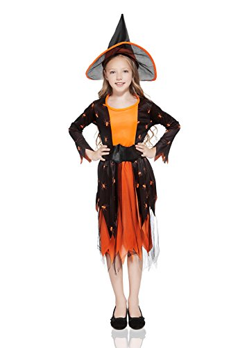 Kids Girls Pumpkin Witch Halloween Costume Queen of Spiders Dress Up & Role Play (6-8 years, black and orange)