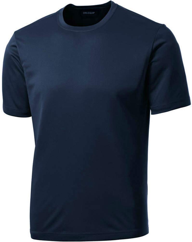 DRIEQUIP Men's Short Sleeve Moisture Wicking Athletic T-Shirt-Navy-XS by DRIEQUIP