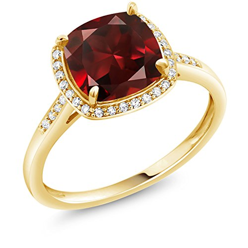 - Gem Stone King 10K Yellow Gold Red Garnet Women's Engagement Ring 2.74 Ct Cushion Gemstone Birthstone (Size 6)