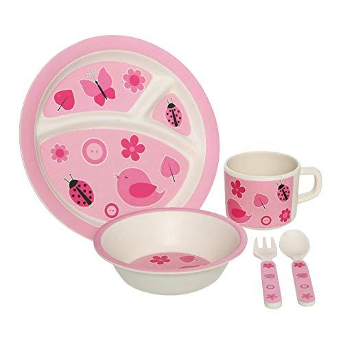 Premier Housewares Kids Bird Dinner Set - Pink, Set of 5