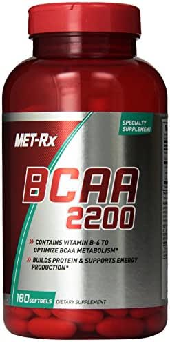 MET-Rx BCAA 2200 Amino Acid Supplement, Supports Muscle Recovery, 180 Softgels