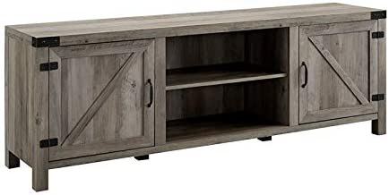 Pemberly Row 70″ Farmhouse Barn Door Rustic Wood TV Stand Console