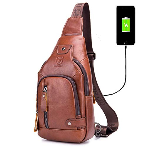 - BULLCAPTAIN Sling Bag Crossbody Backpack with USB Charging Port Genuine Leather Hiking Travel Daypack XB-129 (Brown)