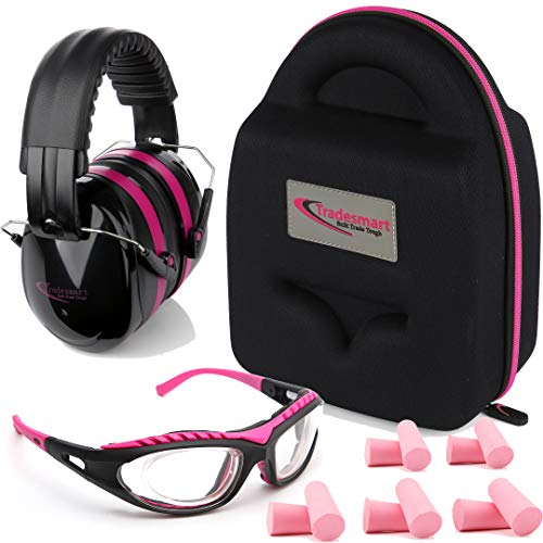 TRADESMART Shooting Range Earmuffs and Glasses - Ear and Eye Protection for The Gun Range with Protective Case, - UV400 Anti-Fog and Anti-Scratch, Clear Safety Glasses - NRR 28 (Pink) (Pink Range Gear)