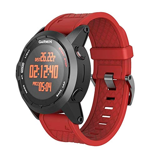 ANCOOL Compatible with Fenix 2 Bands Soft Silicone Watch Bands Replacement for Fenix 2 Smartwatch(Red)