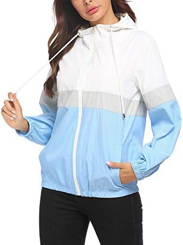 SoTeer Women's Waterproof Raincoat Outdoor Hooded Rain Jacket Windbreaker