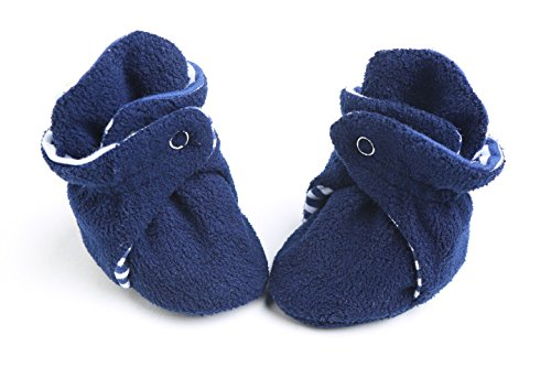 Unisex Soft Organic Cotton Baby Booties for New-Born,3-6 Months, 6-12 Months,12-18 Months old Baby (3-6 Months, Navy)