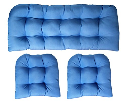 Sunbrella Canvas Air Blue 3 Piece Wicker Cushion Set - Indoor / Outdoor Wicker Loveseat Settee & 2 Matching Chair Cushions (Furniture Blue Wicker Light)