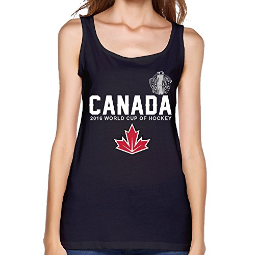 ALIMN Women's Canada Hockey 2016 World Cup Of Hockey Pride Jersey Tank Top Black