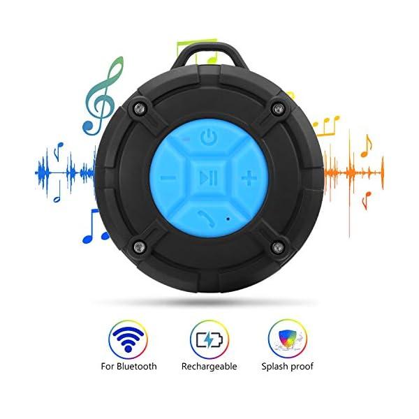PEYOU Enceinte Bluetooth Portable,Étanche Haut-Parleur de Douche sans Fil IPX7 Parleur à Voix Haute stéréo de Bluetooth 4.2 avec Batterie 400mAh,Ventouse puissante,pour la Plage,Piscine et Cuisine 3