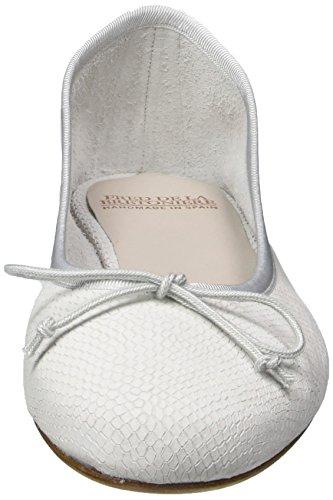 Toe White 1001 Off Bretoniere Fred Ballerina Closed Leder Flats Ballet la White Women's de PS77UqOw0