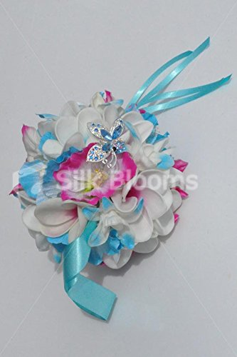 Tropical-Fresh-Touch-Frangipani-Pomander-with-Blue-Dendrobium-Orchids-and-Pink-and-Blue-Hibiscus