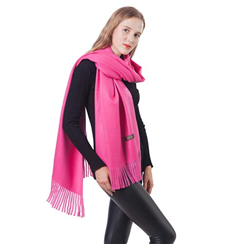 Cashmere Girls Wool - Luxe Cashmere Wool Wraps Pashminas Shawl Soft Solid Color Scarf for Women Lady Girls (1-Rose Red)