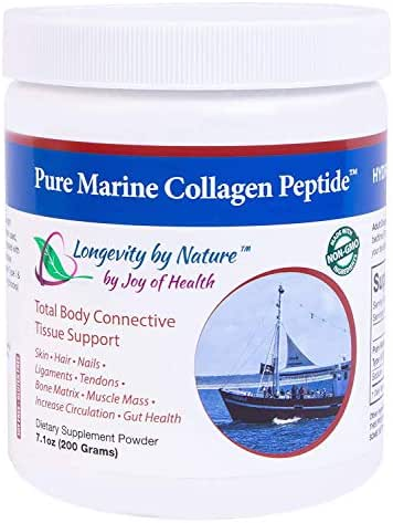 Joy of Health Hydrolyzed Pure Marine Collagen Peptide Powder for Skin, Hair, Nails, & Bones 7.1 oz.