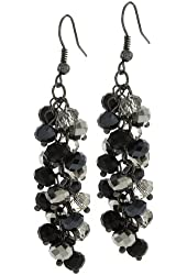 """2"""" Black and Silver Cluster Faceted Crystal Dangle Hook Earrings For Women"""