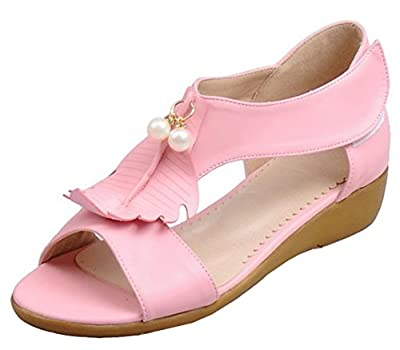 IDIFU Women's Sweet Pearl Wedge Low Heels Open Toe Hook And Loop Sandals