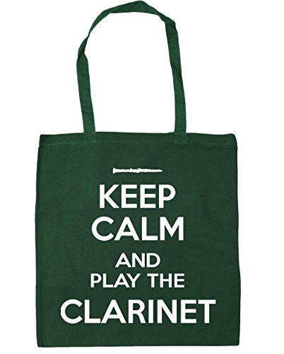 Keep HippoWarehouse Calm Green the Bag Shopping Bottle Gym 42cm litres Clarinet x38cm 10 Beach Tote and Play BBgwd4x