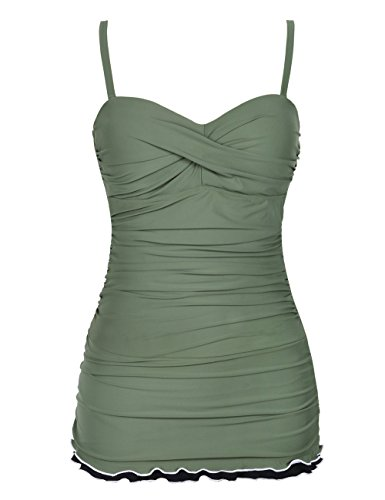 Ruffle Brief - Hilor Women's One Piece Swimsuits Tummy Control Swimwear Ruffle Swimdress with Panty Army Green 8