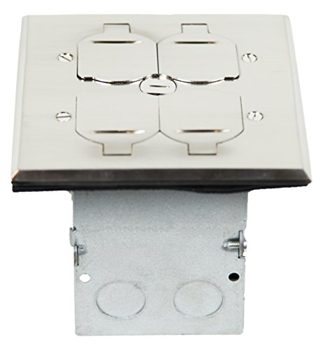 TOPGREENER 705549-S Floor Box 2 Gang 20A Tamper / Weather Resistant Duplex Receptacle Kit, UL Listed - Nickel Plated Brass