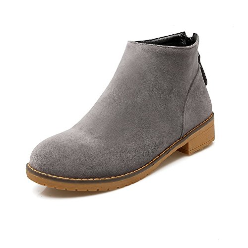 AllhqFashion Womens Round Closed Toe Low-Top Low-Heels Solid Imitated Suede Boots Gray J0TgdHKJ