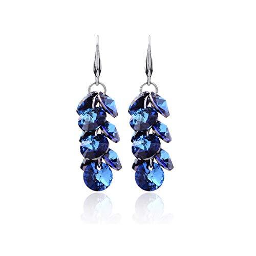 Wedding Earrings Women's Sterling Silver luxurious Round Bermuda Blue Swarovski Cubic Zirconia CZ Floral Leaf Linear Dangle Drop Earrings for Girls Wedding Party Hypoallergenic ()
