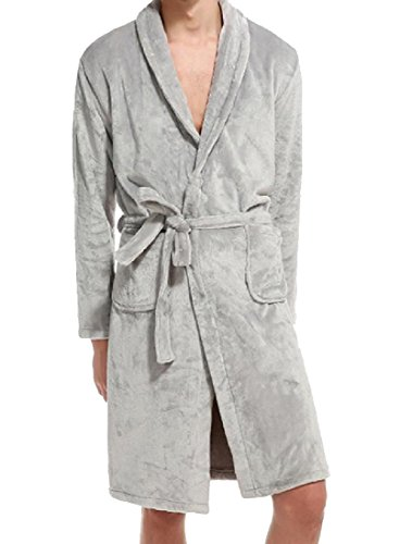 Abetteric Mens Fashion Fit Pure Color Belted Fleece Thick Loungewear Set Light Grey S