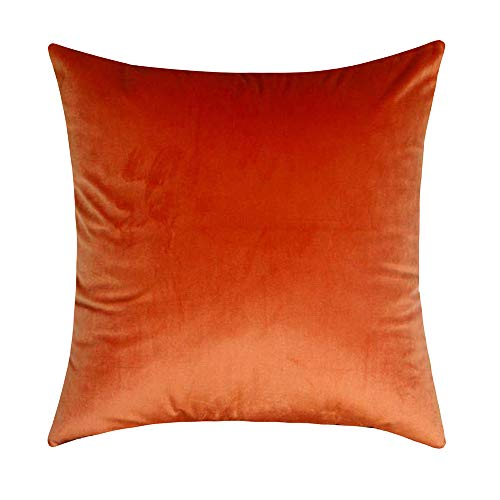Artcest Cozy Solid Velvet Throw Pillow Case Decorative Couch Cushion Cover Pumpkin