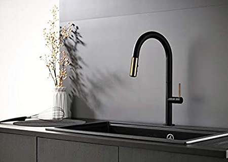 Makej New Black Pull Out Kitchen Faucet Brass Luxury Kitchen Mixer