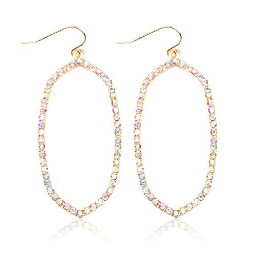 RIAH FASHION Sparkly Rhinestone Simple Lightweight Geometric Open Hoop Drop Earrings - Cubic Zirconia Crystal Polygon Cut-Out Dangles Kite Rhombus, Oval Hexagon (Oval - Gold AB)
