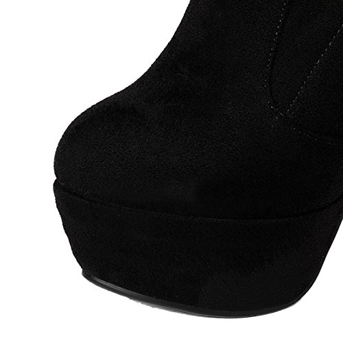 High 14cm Schnürsenkel Stiletto Absatz Stiefel Boots Elegant AIYOUMEI und Overknee Damen Schwarz Plateau mit Stretch Winter Heels SwR7zx