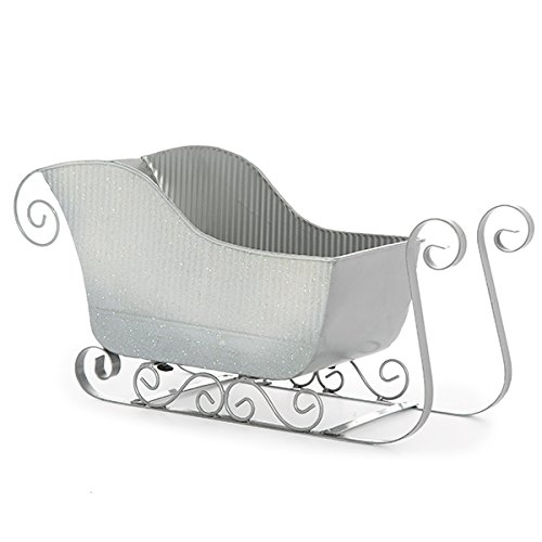 The Lucky Clover Trading Silver Glitter Sleigh Basket - Large 10in