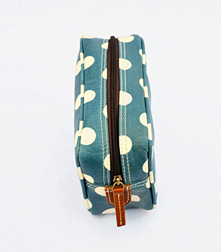 VLiving Utilité Sac Cosmétique pochette maquillage toilette Imprimé laminé de cuir ou de Polka de Dot garnitures Bleu Sac Trousse rx0UwqCr