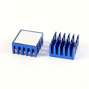 2 PC Disipador de calor difuso de 15 mm x 15 mm x 8 mm de aluminio de la aleta de enfriamiento