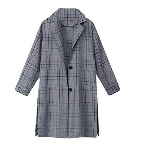 (Women Coat JJLIKER Fashion Plaid Print Pocket Warm Thicken Parka Lapel Long Outwear Overcoat Black)