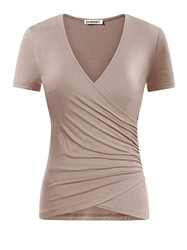 (GUBERRY Womens Cross Top Short Sleeve V-Neck Wrap Basic Layering Ruched Tee Shirt)