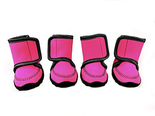 Xanday Dog Boots Waterproof Dog Shoes Paw Protectors with Adjustable Straps and Wear-resisting Soles 4 Pcs (XXL, Rose) by Xanday