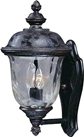 Maxim Lighting 3422WGOB Carriage House DC 2-Light Straight Mount Outdoor 16-Inch Wall Lantern, Oriental Bronze Finish