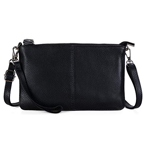 (Befen Women's Genuine Smartphone Leather Wristlet Crossbody Wallet Purses and Handbags Mini Crossbody Bag Clutch Wallet with Crossbody Strap - Black)