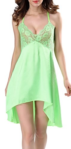 Charmeuse Lace Corset (Blidece Womens Sexy Satin Charmeuse Chemises Lingerie Babydoll Dress Nightgown Green 2XL)