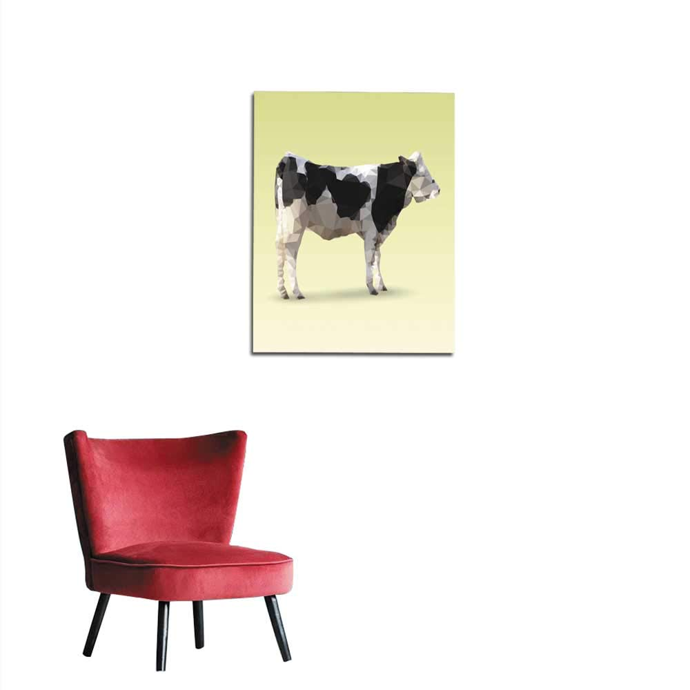 longbuyer Photo Wall Paper Isolated Cow Illustration Made with Triangles Mural 16''x20''