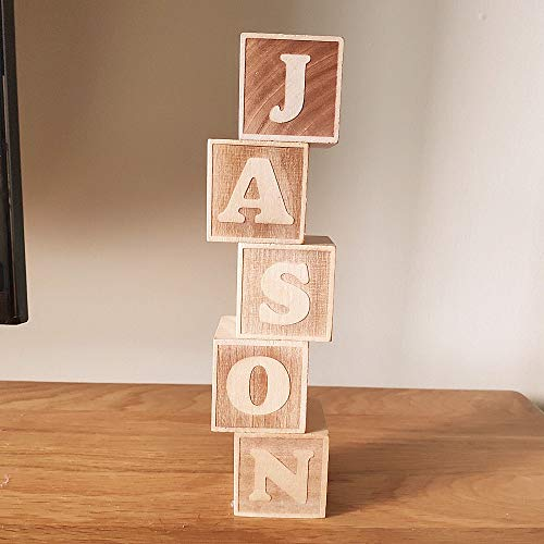 (Best Quality - Blocks - Personalized Nordic Style Wooden Alphabet Letters Baby Name Blocks for Nursery Bedroom Photo Shoot Decoration Newborn Keepsake - by Kiartten - 1 Pcs - Wood Letter)