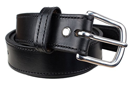 Handmade Stitched Bridle Leather Belt Extra Thick (Size 48, Black) - Mens Bridle