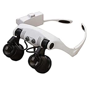 Head Wearing Magnifying Lens 10X 15X 20X 25X Double Eye Jewelry Appraisal Loupe Clock Repair Magnifier with 2 LED Lights