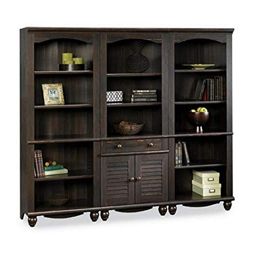 (Sauder Harbor View Library Wall Bookcase in Antiqued Paint)