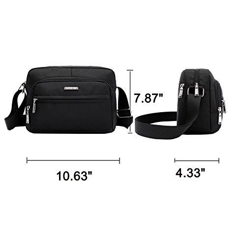 Shoulder Body Bags Fabuxry Travel Nylon Women Cross Handabgs Black Purses Xvq6EZ67