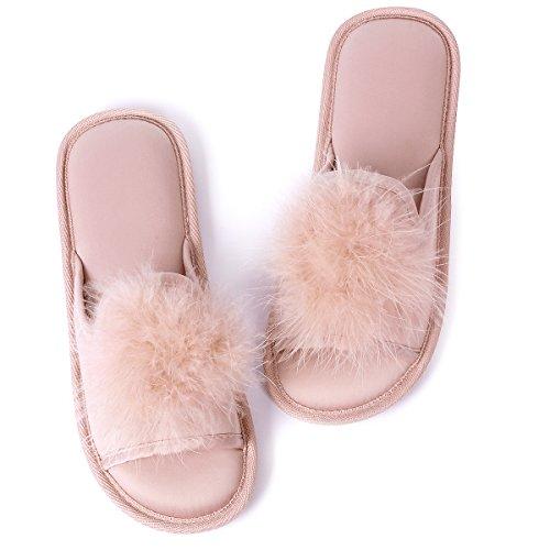 Caramella Bubble Womens Open Toe Faux Fur Slippers | Ladies Pom Pom Fur Flat Slippers | Women's Indoor Outdoor House Slide Clog Memory Foam Red