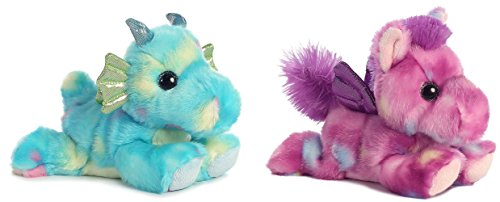 Bundle Of 2 Aurora 7  Stuffed Beanbag Animals   Sprinkles Dragon   Tutti Frutti Pegasus