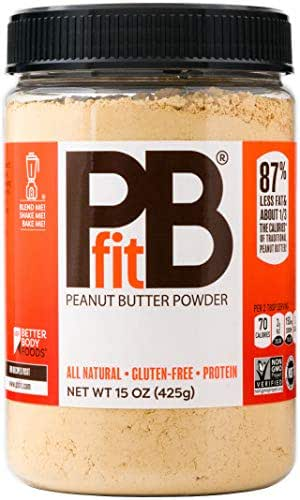 PBfit- All-Natural Peanut Butter Powder 15 oz, Peanut Butter Powder from Real Roasted Pressed Peanuts, Low in Fat High in Protein, Natural Ingredients